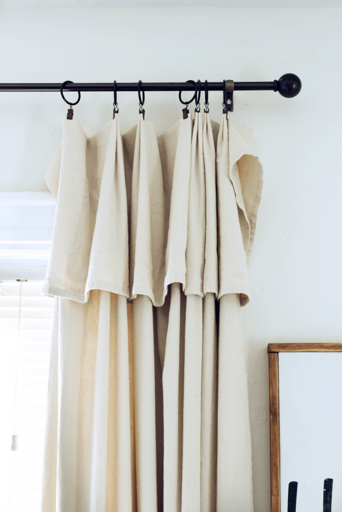 Folded over drop cloth curtains
