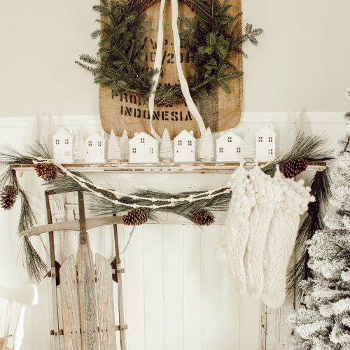 Rustic Christmas Antique Mantel