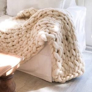 Chunky Knit Blanket Hand Made Merino Wool Throw
