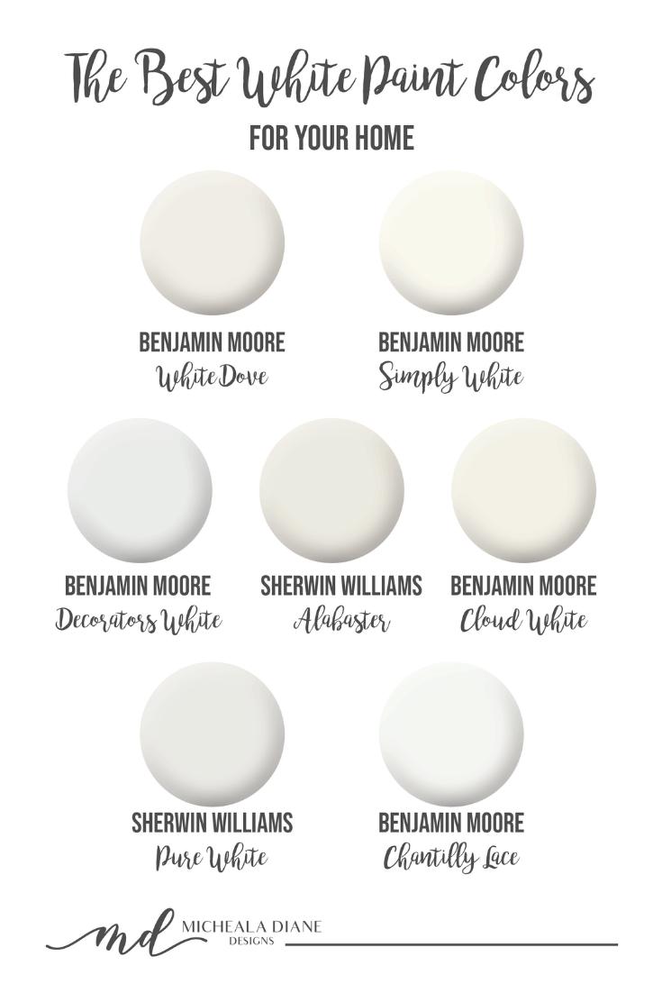 The Best White Paint Colors Micheala Diane Designs