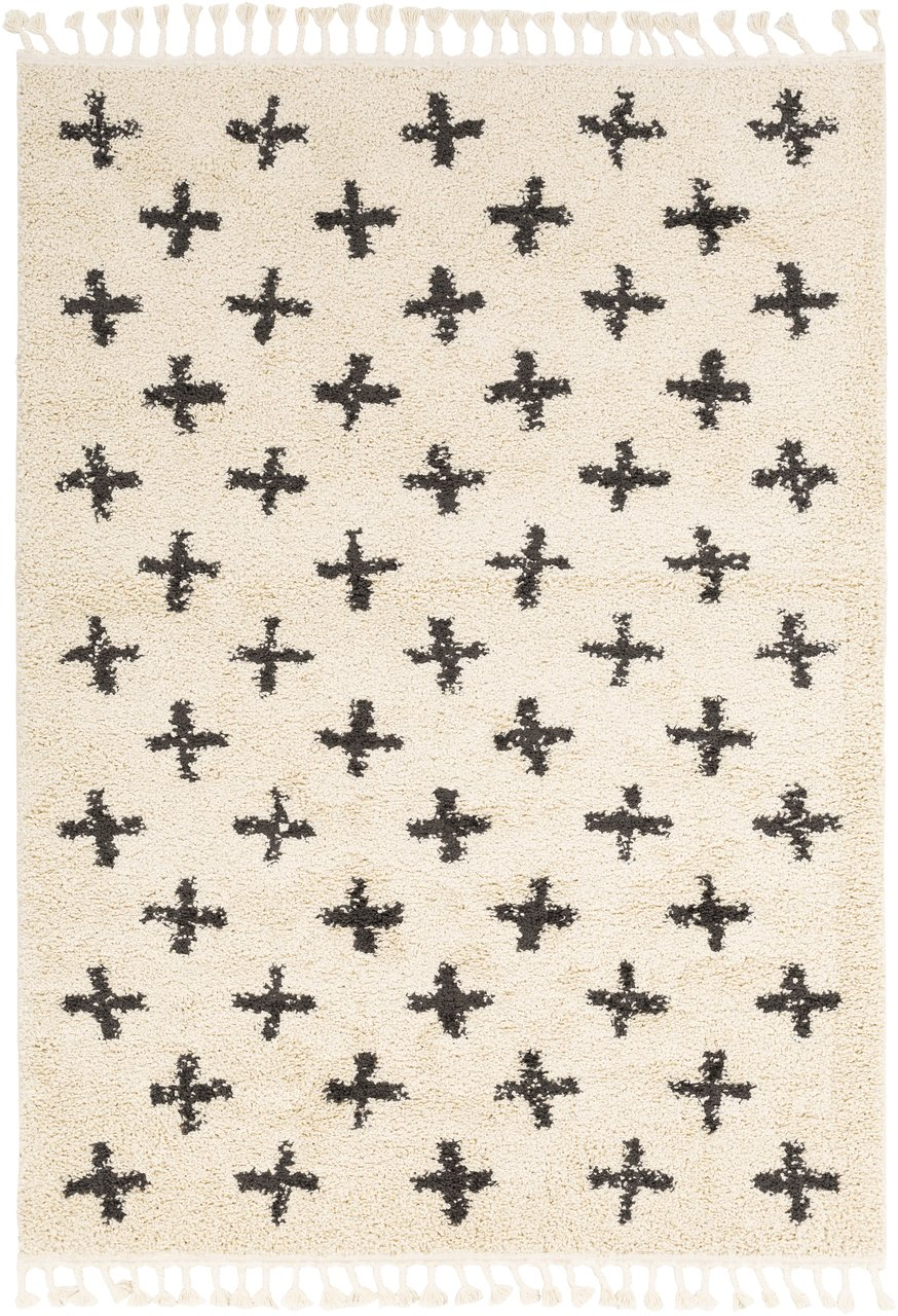 Cross pattern black and white rug Alstead from Boutique Rugs