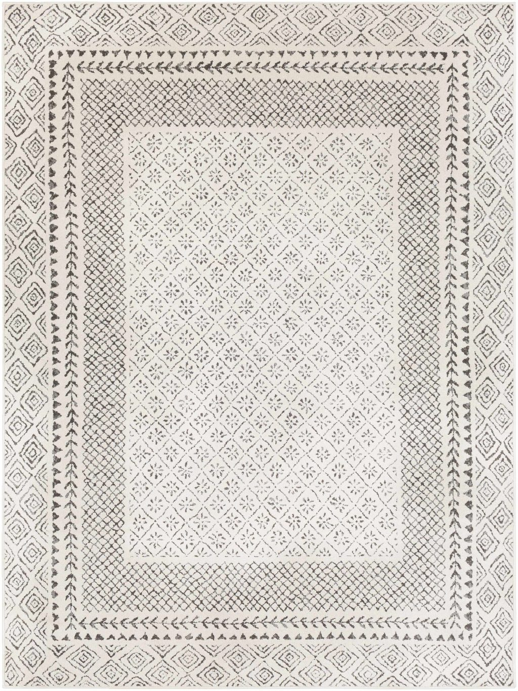 Grey and White Geo Pattern Rug Burdette from Boutique Rugs