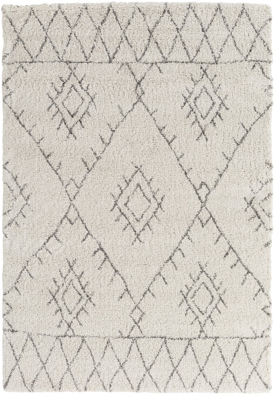 White and Grey Tribal pattern area rug. Flintville Boutique Rugs