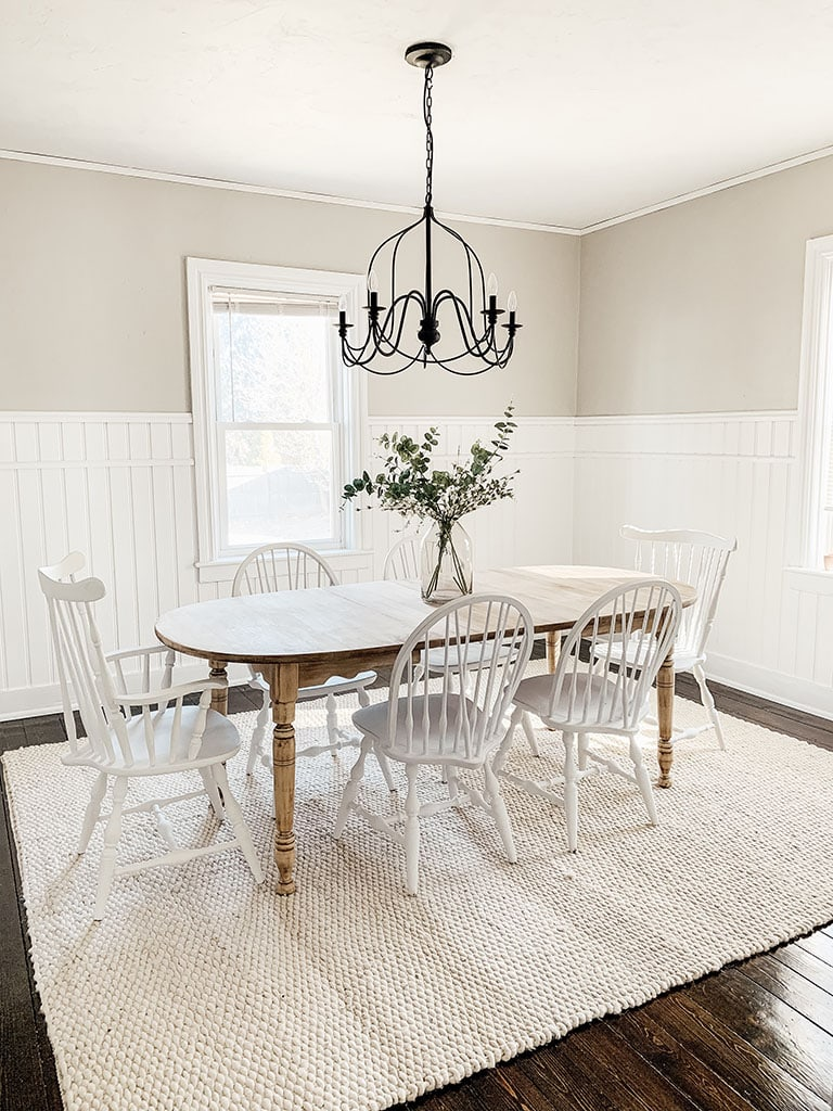 Wood Farmhouse table with white chalk painted chairs