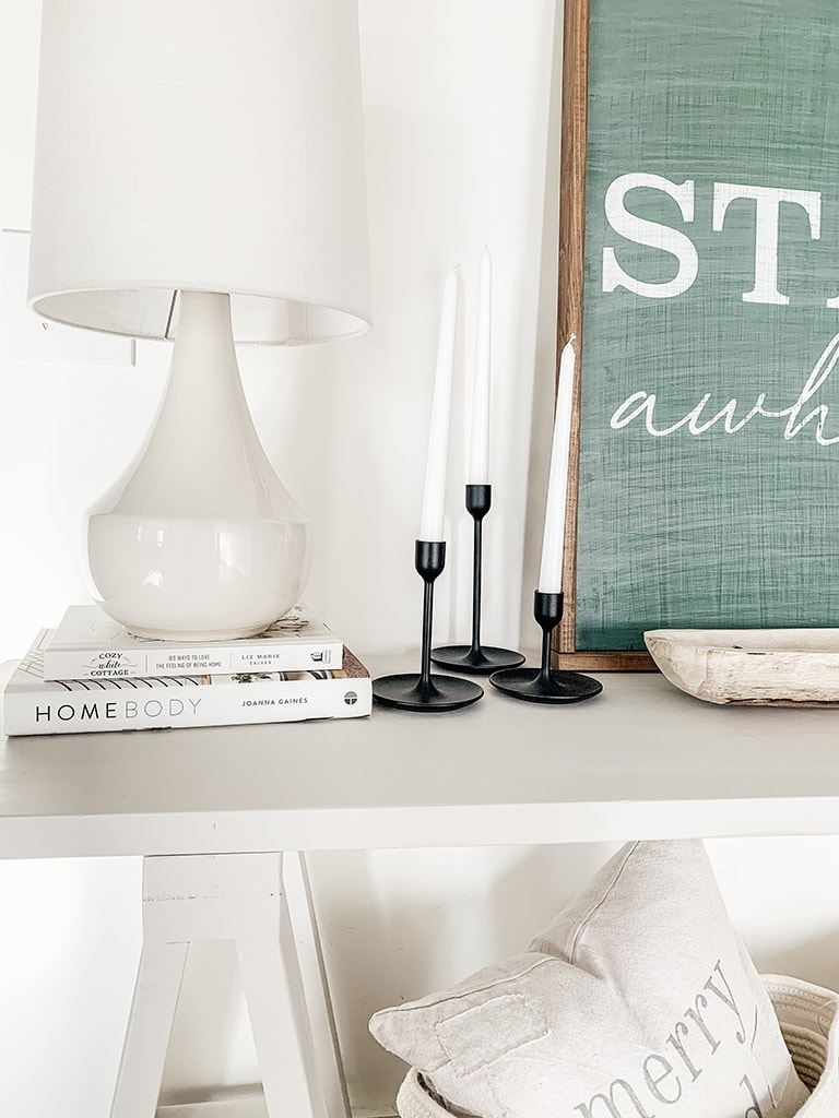 Lamp on console table