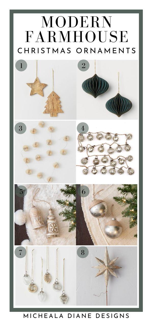 Modern Farmhouse Christmas Ornaments