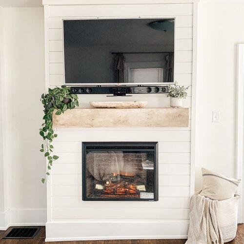 DIY Shiplap Electric Fireplace & Mantel