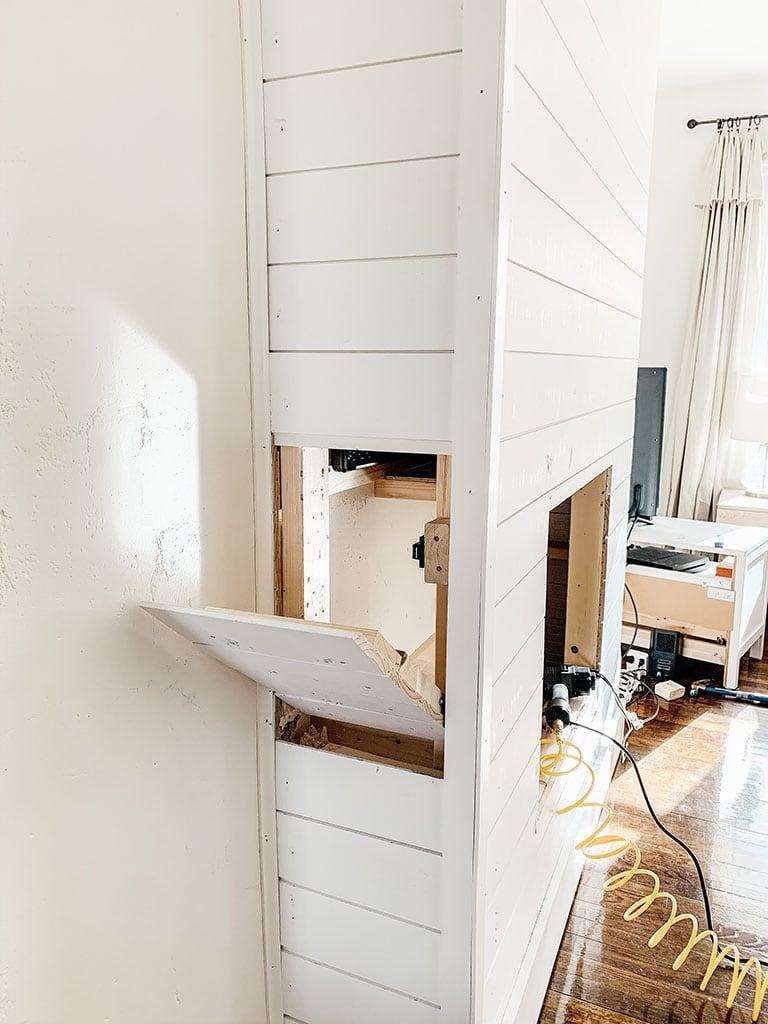 Shiplap Fireplace Secret Door
