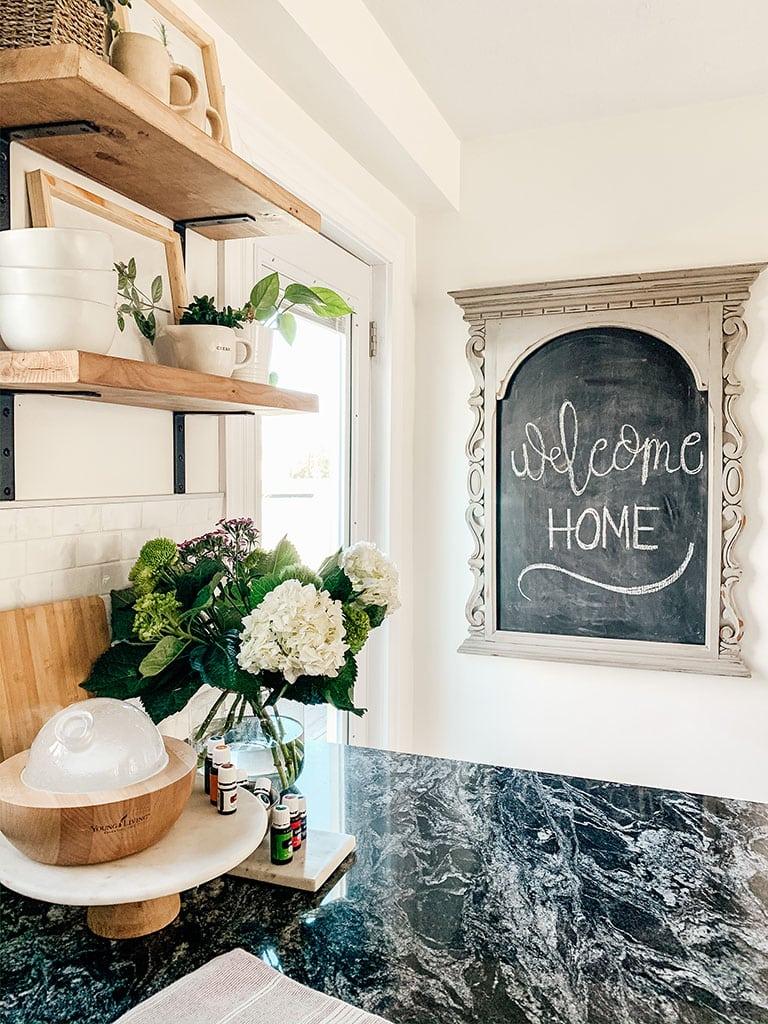welcome home chalk board