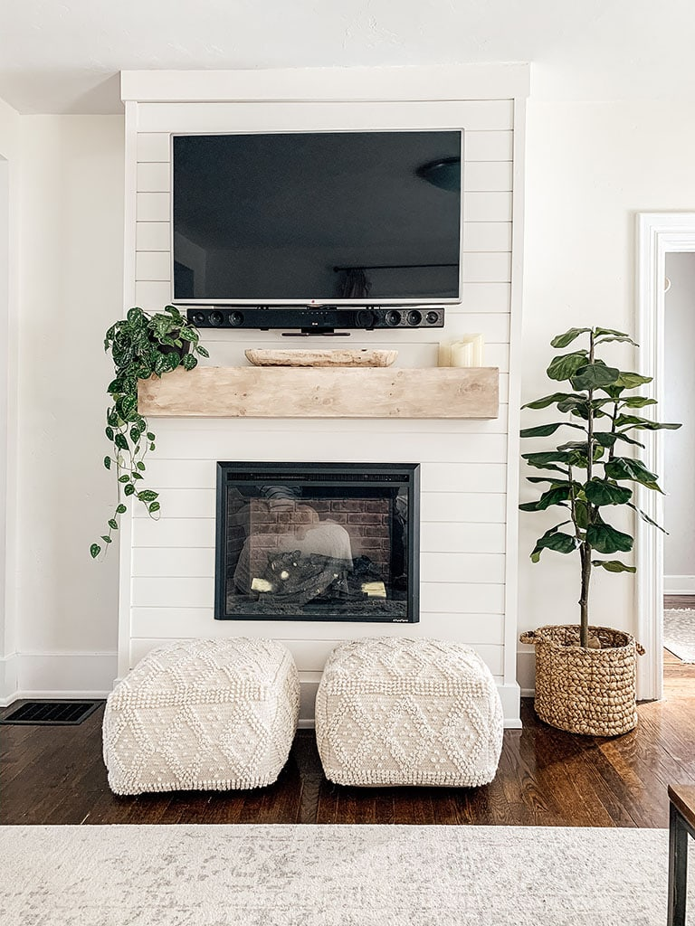 Shiplap Fireplace decorated
