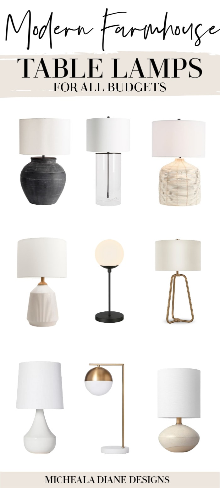 Modern Farmhouse Table Lamps For All Budgets Micheala Diane Designs