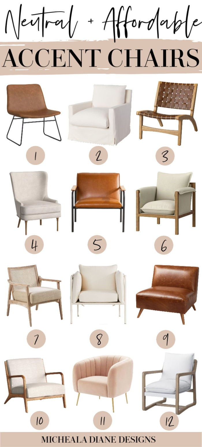 Affordable selection of neutral accent chairs