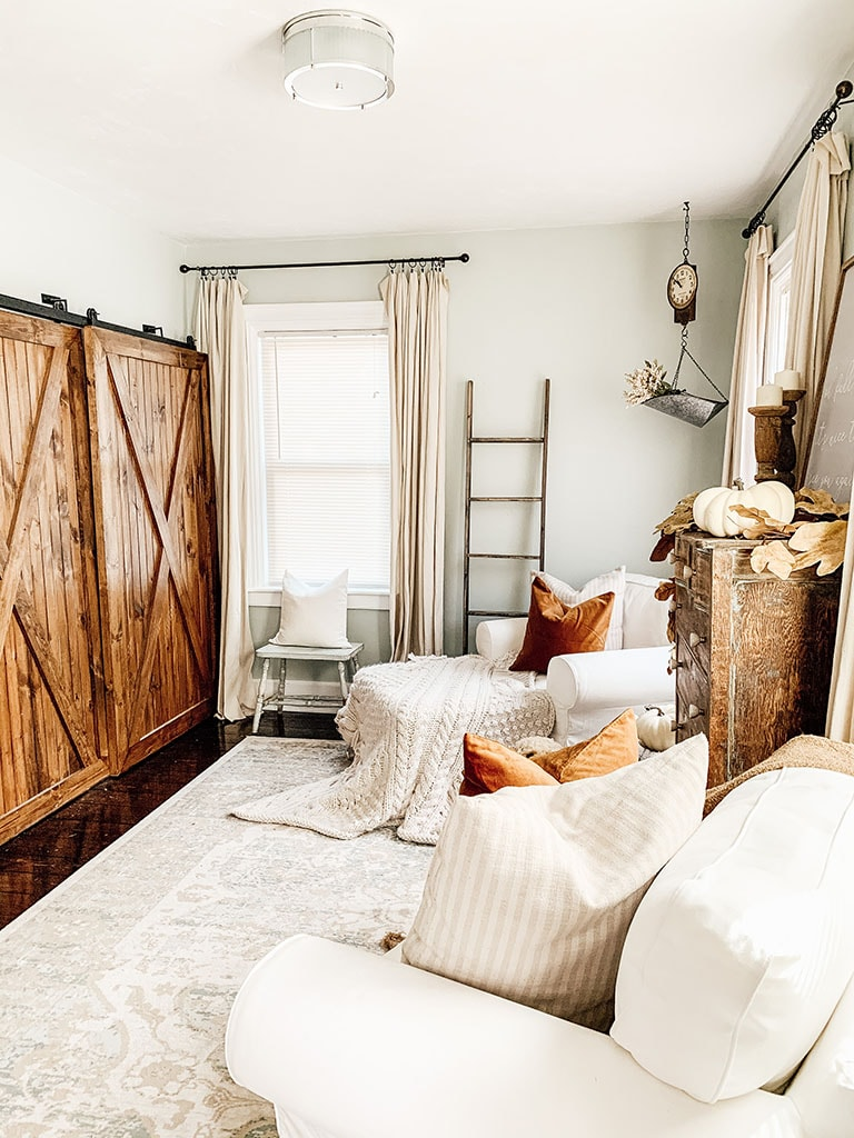 Cozy Fall Living Room Barn Doors