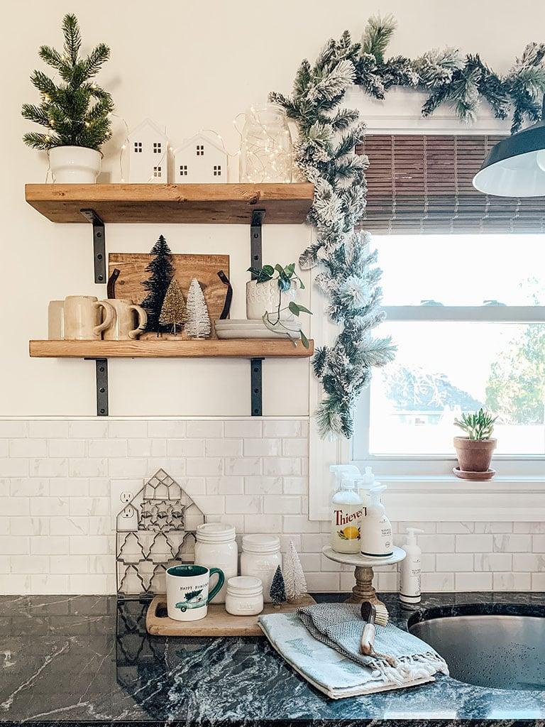 Christmas open shelving decor