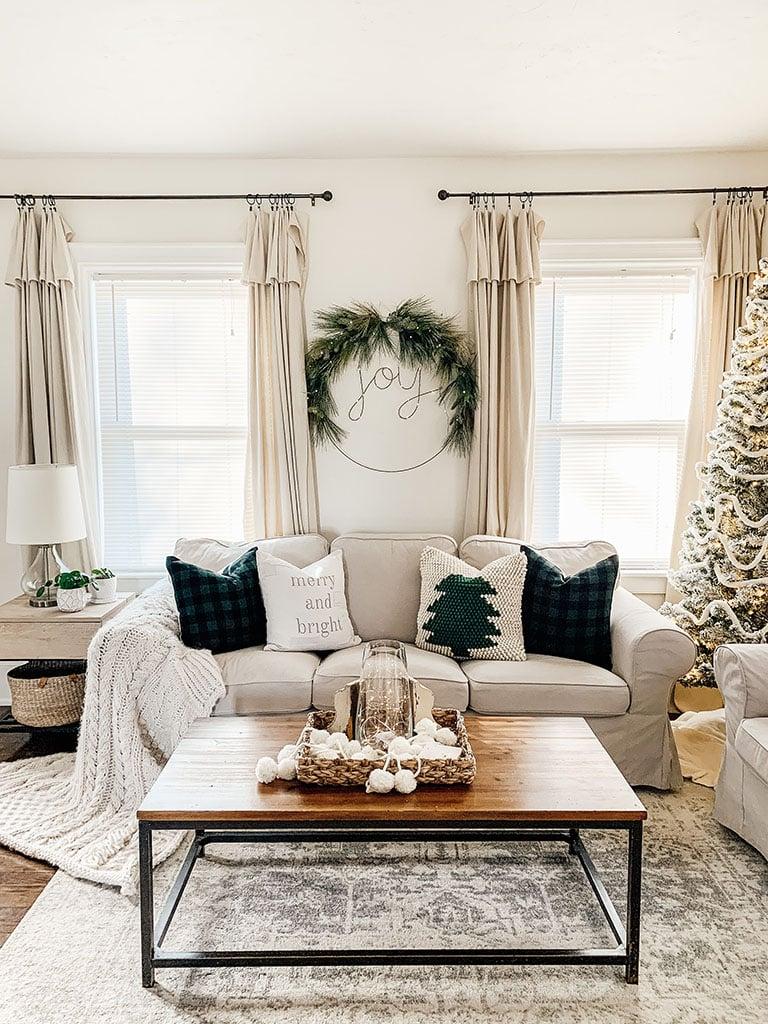 Green and Black Christmas Living Room