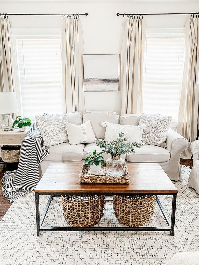 DIY Drop Cloth Curtains. Modern Farmhouse Style Drop Cloth Curtains. Art above couch