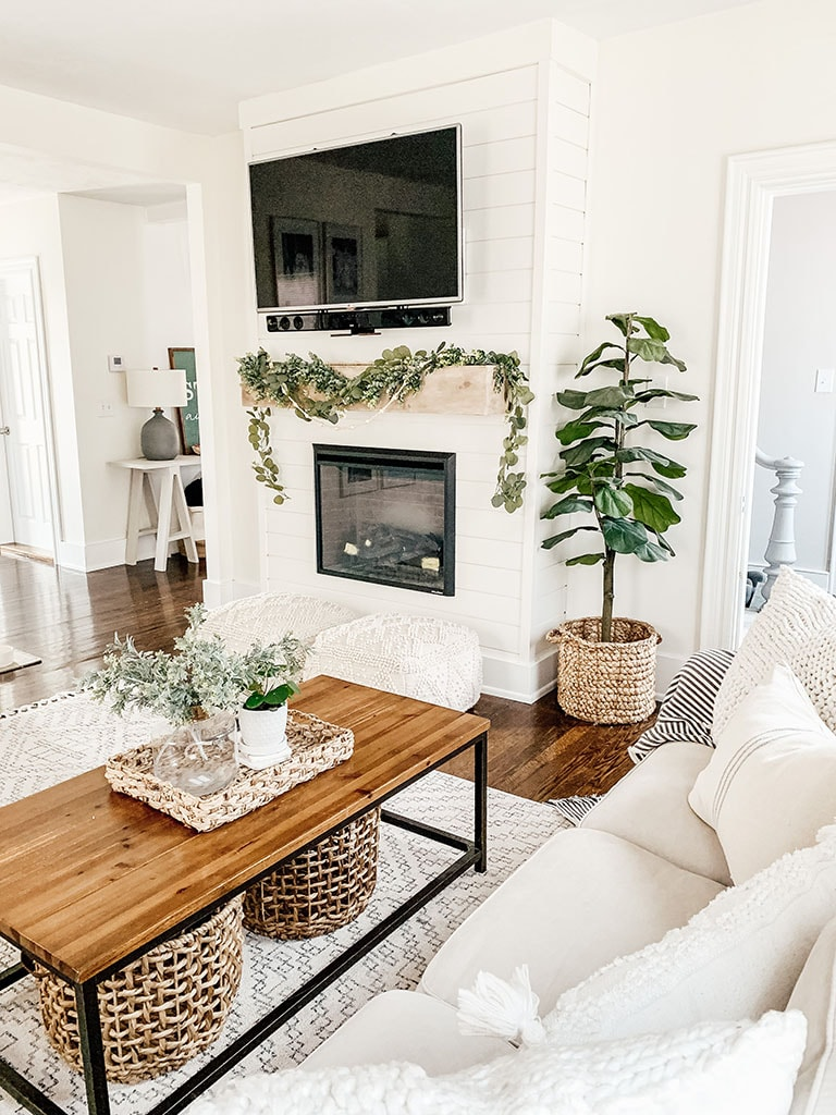 DIY Shiplap Electric Fireplace