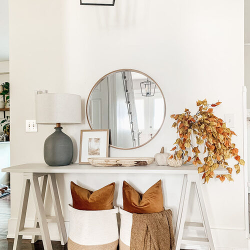 Console table decorated for Fall