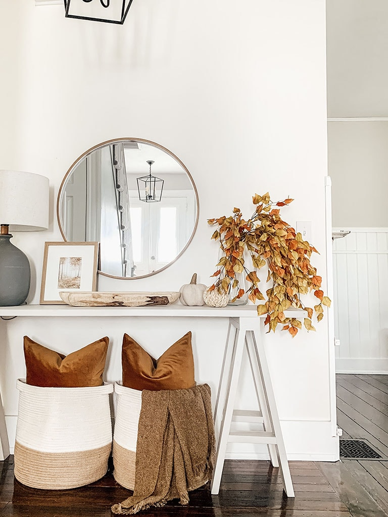 Fall decorated entryway